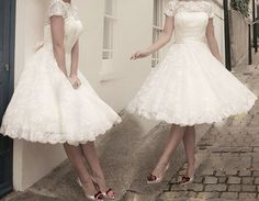 Tea Length Lace Vintage Lace Wedding Dress Prom Party Short All UK Size Ivory
