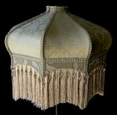Vintage Victorian lamp shade.  Made in a Soft gold silk.