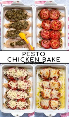 Baked Pesto Chicken, Chicken Pesto Recipes, Baked Chicken Breast, Chicken Breasts, Chicken With Pesto, Pesto Mozzarella Chicken, Healthy Chicken Dinner, Cooking Recipes, Healthy Recipes