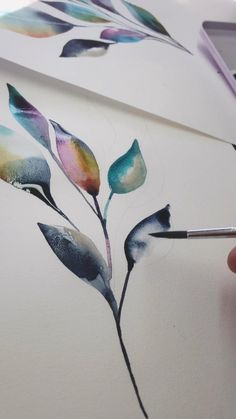 art drawings Watercolour leaves in a unique colour palette Watercolor Paintings For Beginners, Watercolour Tutorials, Watercolor Techniques, Art Techniques, Watercolor Ideas, Watercolor Animals, Watercolor Illustration, Watercolour Palette, Watercolour Pencil Art