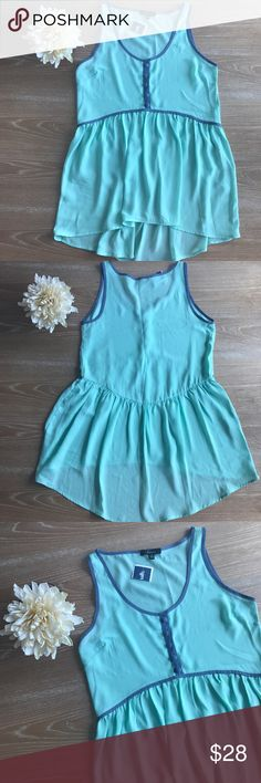 """🔥50%OFF BUNDLE🔥HI-LOW TURQUOISE CHIFFON TOP 💗Condition: New with tags. Measurements: armpit to armpit laying flat: 17"""", length: 30 💗Smoke free home/Pet hair free 💗No trades, No returns. No modeling  💗Shipping next day. Beautiful package! 💗I LOVE OFFERS, offer me! 💗ALL ITEMS ARE OWNED BY ME. NOT FROM THRIFT STORES 💗All transactions video recorded to ensure quality.  💗Ask all questions before buying #40 Soprano Tops Blouses"""