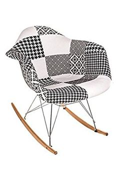 Costello® PATCHWORK PREMIUM FABRIC RETRO WOODEN ROCKING ROCKER LOUNGE LEISURE CHAIR LIVING BED ROOM INDOOR/OUTDOOR SUN PATIO GARDEN SEAT CONSERVATORY OFFICE TULIP CHARLES AND RAY EAMES STYLE MODERN RAR TUB DINING ☆FREE NEXT DAY UK MAINLAND DELIVERY☆SAME DAY DISPATCH BEFORE 2PM☆ (BLACK & WHITE PATCHWORK ROCKING CHAIR)