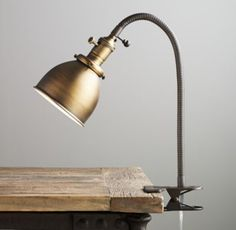 Industrial Era Task Clip Lamp in brass or pewter