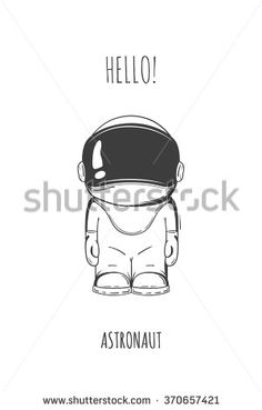 cartoon astronaut in space suit. One died. Line art cosmic vector illustration cosmonaut who stand alone. Concept hello world