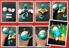 Smurf!  NooN beaded jewellery: step by step marzipan figures by Gabriela Doležalová