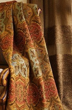 9713 – Turkoman (left) is a Signature Exclusive Newport Mansions Doris Duke upholstery washed damask design. 9729 - Liebes (right) is a Signature Exclusive Newport Mansions Doris Duke drapery casement design. Earth Colour Palette, Doris Duke, Rustic Lake Houses, Autumn Home, Autumn Style, Autumn Fall, Cottages And Bungalows, Gypsy Wagon, Earth Tones