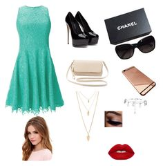 """""""Night out with friends"""" by delaelis on Polyvore featuring Shoshanna, Charlotte Russe, Chanel, Lulu*s, Forever 21, Lime Crime, women's clothing, women, female and woman"""