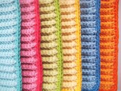 Dish Cloths Wash Cloths Crocheted Rainbow Bundle - no pattern, but I could probably figure this out.  Love the colors!