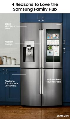 Family Hub 2.0 redefines everything you thought you knew about a refrigerator. The Wifi-enabled touchscreen helps you manage groceries, stay connected to your family, and turn your kitchen into the ultimate entertainment venue. Keep an eye on what food you've got, play your favorite playlists, and sync everyone's calendars, all in one place. (Oh, and it holds food, too.)