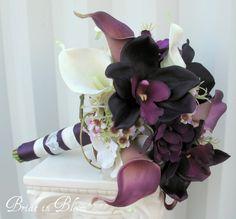 alfabridal.com  Love the Plum Shade!!  lWedding bouquet Bridal flowers Plum by BrideinBloomWeddings, $120.00