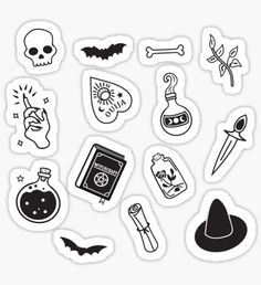"""Witchy Essence Black"" Stickers by Bonnabell . Tumblr Stickers, Phone Stickers, Journal Stickers, Planner Stickers, Kalender Design, Black And White Stickers, Black White, Homemade Stickers, Tattoo Hals"
