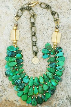 Pharoah: Green Turquoise Teardrops and Gold Fringe Necklace