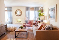 Neutral and pink living room