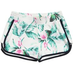 Guess Pink White Tropical Flower Print Shorts ($48) ❤ liked on Polyvore featuring shorts and bottoms