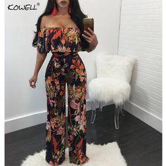 Hot Sell Bohemian Palm Print Lace Up Jumpsuits Rompers Off Shoulder Plus  Size Women Jumpsuit Summer Beach 52e337b486c0