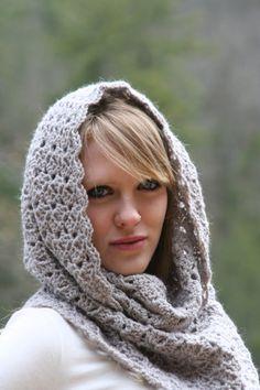 Cowl Scarf Hood Scarf Textured Snood Crochet   by crochetgallery,