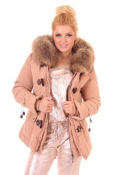 Jacky Luxury winterjas met echt bont in poeder