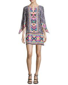 Hailey Border-Print Dress at CUSP.