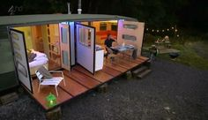 George Clarke's caravan, I want this!!!!! I want my couch to turn into a bath.