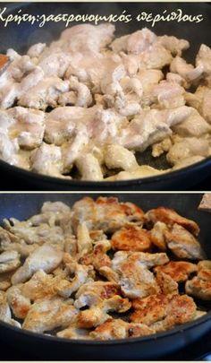 «Γύρος» κοτόπουλου στο… τηγάνι! (video) - cretangastronomy.gr Macaroni And Cheese, Food And Drink, Stuffed Peppers, Meat, Chicken, Cooking, Ethnic Recipes, Kitchen Stuff, Kitchen