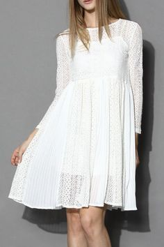Ethereal Pleated White Lace Dress - Retro, Indie and Unique Fashion