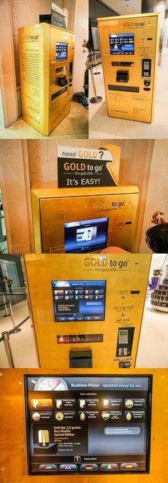 두바이 'Gold ATM' - 10초 단위로 갱신되는 국제시세에 따라 동전형 / 브롯지형 금을 구매할 수 있음.