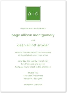 Modern Initials:Green Apple on weddingpaperdivas