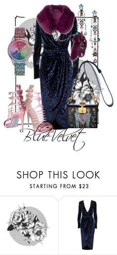"""""""She Wore"""" by raecycle ❤ liked on Polyvore featuring Gucci, Juicy Couture, dress, velvet and bluevelvet"""