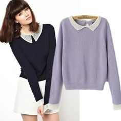 Peter pan collar sweater,preppy style pullover