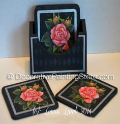 Rose Coaster Set in acrylic Online Painting Classes, Learn To Paint, Painting Patterns, Rose Buds, Coaster Set, Line Drawing, Lamb, Decorative Boxes, Drawings