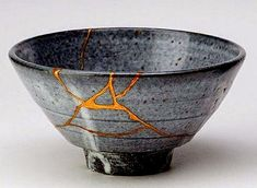 Kintsugi japanese ceramics repaired with gold