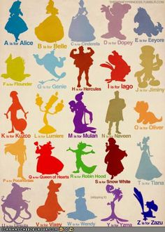 Disney Alphabet. A. Alice, B. Belle, C. Cinderella, D. Dopey, E. Eeyore, F. Flounder, G. Genie, H. Hercules, I. Iago, J. Jiminy, K. Kuzco, L. Lumiere, M. Mulan, N. Naveen, O. Oliver, P. Pocahontas, Q. Queen of Hearts, R. Robin Hood, S. Snow White, T. Tiana, U. Ursula, V. Vixey, W. Wendy, (Skipping X), Y. Yzma, Z. Zazu.