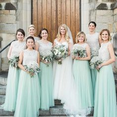 Two piece light mint green bridesmaid dresses for wedding - Thumbnail 4 Sexy Wedding Dresses, Wedding Bridesmaid Dresses, Wedding Gowns, Wedding Skirt, Wedding Mandap, Lace Bridesmaids, Wedding Stage, Wedding Receptions, Tulle Skirt Bridesmaid