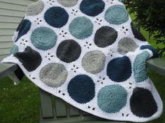 Blue Baby Boy Mod Dot Crochet Blanket, Navy Blue, Country Blue, Light Gray, Dark Gray, White Border on Etsy, $70.00
