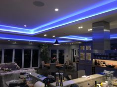 Three section rgb led profile coffer lounge kitchen cool design