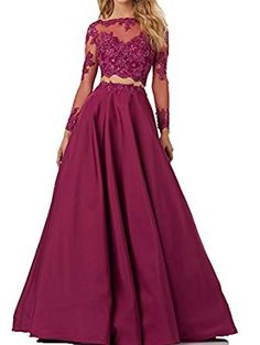 Two pieces Lace Bodice Beads Prom Dresses Long