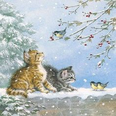 Christmas Scenes, Christmas Animals, Christmas Cats, Christmas Ornaments, Illustration Noel, Paper Napkins For Decoupage, Party Napkins, Christmas Paintings, Vintage Christmas Cards