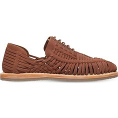Kg Kurt Geiger Saxa woven leather sandals ($46) ❤ liked on Polyvore featuring men's fashion, men's shoes, men's sandals, tan, mens tan shoes, mens leather lace up shoes, mens woven shoes, mens sandals and mens shoes