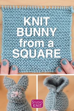 So cute and easy Knit a Bunny from a Square from a simple knitted swatch Get your free knitting pattern to make this adorable softie toy StudioKnit knittingtoys freeknittingpattern easyknitting Beginner Knitting Patterns, Beginner Knitting Projects, Yarn Projects, Easy Knitting Ideas, Free Toy Knitting Patterns, Crochet Projects For Beginners, Free Baby Crochet Patterns, Easy Baby Knitting Patterns, Baby Knitting Free