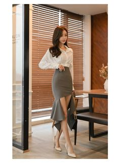 H Han Queen Women Korean Elegant 2 Pieces Suits Batwing Sleeve White Shirt Top + High Waist Bodycon Trumpet Skirt Work Wear Set Office Outfits Women, Work Skirts, Elegant Outfit, Occasion Dresses, Work Wear, Fashion Dresses, Cute Outfits, Rock, Clothes For Women