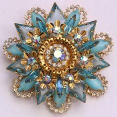 Vintage-Delizza-Elster-JULIANA-Ornate-Tiered-Blue-Opal-AB-Starburst-Brooch-Pin