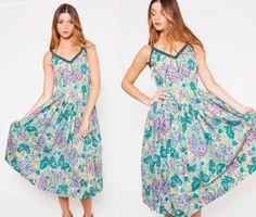 Vintage 50s Circle Skirt Day Dress Green Butterfly Atomic Print Retro Sun Dress by LotusvintageNY on Etsy