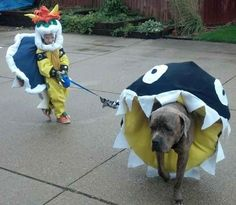 Bowser walking Chain Chomps. | 22 Halloween Costumes For Kids Inspired By Nintendo