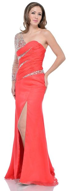 Wow! Imagine you in this One Sleeve Formal Prom Dress with Front Slit