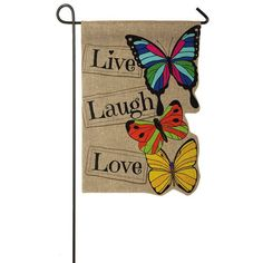 Live Laugh Love burlap garden flag garden ideas gifts