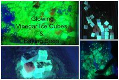 Glowing Vinegar Ice Cubes & Baking Soda.  Science for little kids.