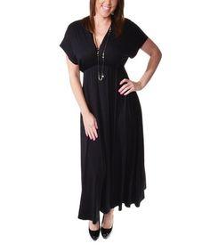 Look what I found on #zulily! Black V-Neck Maxi Dress - Plus #zulilyfinds