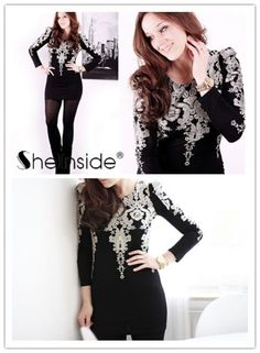 Black Long Sleeve Lace Embroidery Bodycon Dress - Sheinside.com