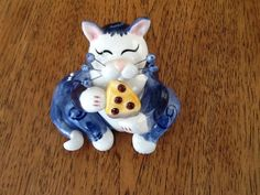 Whimsiclay, Ceramic Pin Blue Cat Figurine by Amy Lacombe, 2002, Mint | eBay