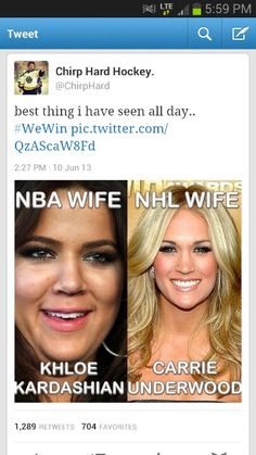 Hockey players are cuter so, I guess that explains that. But I really can't stand Mike Fisher, (Carrie Underwood's husband.) but still hockey players are way better